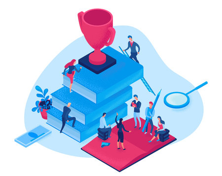 Success career isometric infographic 3d concept, creative man teamwork vector illustration with leader climbing career path reach goal, people meeting thinking of motivation, strategy, efficient job