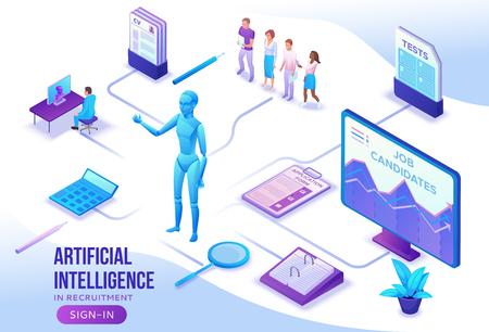 Intelligenza artificiale nelle risorse umane, modello di sito Web dell'agenzia di reclutamento con datore di lavoro 3d che assume lavoratore, colloquio di lavoro, ricerca intelligente dei candidati, uomini d'affari, illustrazione vettoriale isometrica