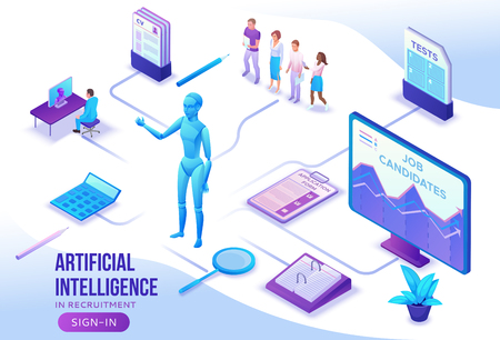 Artificial intelligence in human resources, recruiting agency website template with 3d employer hiring worker, job interview, smart candidate search, business people, isometric vector illustration