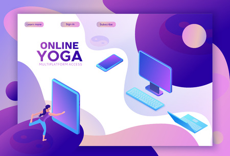 Yoga isometric concept or website template, 3d women doing physical exercises and watching online classes via smartphone or laptop, mobile app background, illustration of meditating in different pose Ilustração