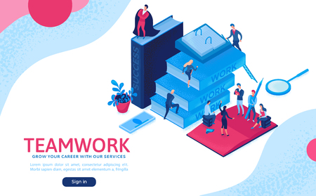 Teamwork 3d isometric illustration, employee win trophy, infographic hero leadership concept, business people in collaboration, successful person win cup, landing page website layout, ui, ux design Vektorové ilustrace