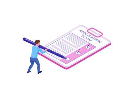 Employee filling in application form, Recruitment isometric infographic concept template with 3d talent worker, candidate search work via human resource, office business man, vector illustration
