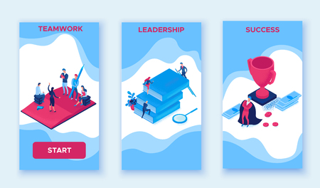 Success career 3 mobile vertical templates, isometric infographic 3d concept, creative man teamwork vector illustration with leader climbing career path reach goal, people meeting for motivation Çizim