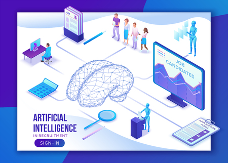 Human resources with artificial intelligence,hr recruiting agency website ui ux template with 3d employer hiring man, job interview, candidate search work, business people, isometric illustration 일러스트