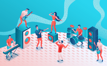 Concert isometric 3d illustration, modern music radio show or audio blog concept, vector landing page, singing contest, microphone, podcast recording sound studio, living coral color, memphis pattern