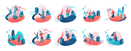 Musicians 3d isometric set with trendy memphis geometric patterns, music band artists, jazz fesival background, singer, guitar, piano, cartoon collection of musical people, blue and coral color