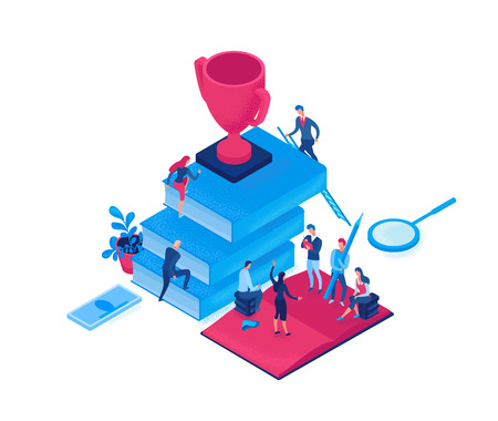 Businessman win cup, winner 3d isometric illustration, infographic hero leadership concept, business people in teamwork at meeting, successful person win cup, employee work together for achievement