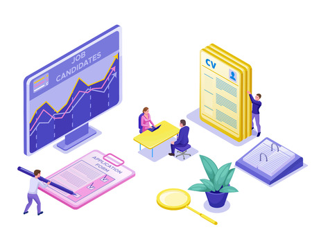Job agency isometric infographic landing page template with 3d employer hiring talent worker, candidates search work via human resource mobile app, office business people, illustration