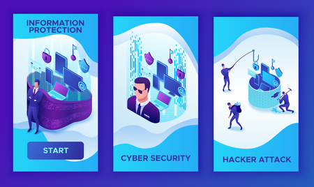 Mobile vertical 3 template of Data protection concept, cyber security 3d isometric vector illustration, firewall attack, phishing scam, information safety , laptop, computer, bank card Illustration