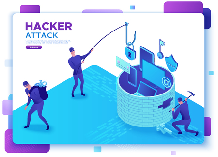 Hacker attack, mobile security concept, data protection, cyber crime, 3d isometric vector illustration, fingerprint, phishing scam, information protection, smartphone safety Illustration