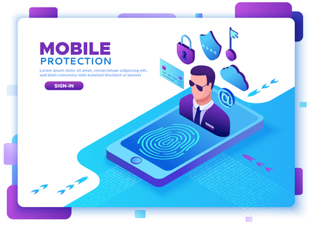 Mobile security concept, data protection, cyber crime, 3d isometric illustration, fingerprint, phishing scam, information protection, smartphone safety