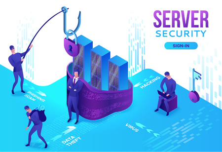 Server security 3d isometric vector illustration, data protection concept, firewall attack, phishing scam, information safety , laptop, computer, bank card