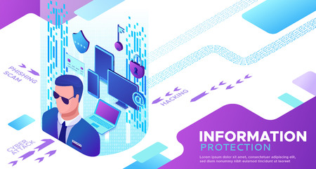 Information protection concept, cyber security 3d isometric vector illustration, firewall attack, phishing scam, concept, computer data safety and security Stock Vector - 123987536