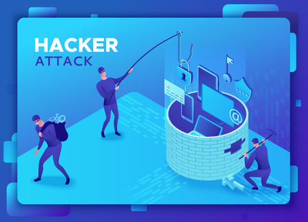 Phishing scam, hacker attack, mobile security concept, data protection, cyber crime, 3d isometric vector illustration, fingerprint, smartphone information safety
