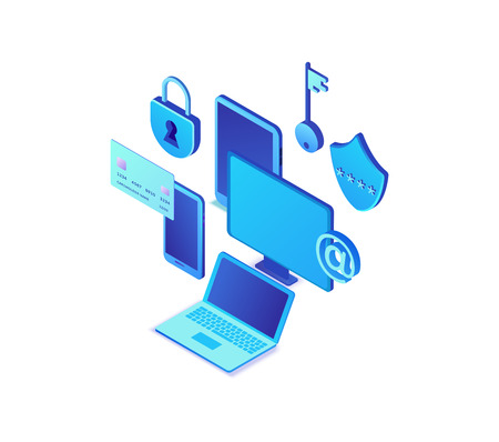 Data protection concept, cyber security 3d isometric vector illustration, firewall attack, phishing scam, information safety , laptop, computer, bank card Illustration