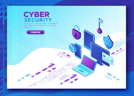 Cyber security 3d isometric vector illustration, data protection concept, firewall attack, phishing scam, information safety , laptop, computer, bank card Stock Vector - 123855067