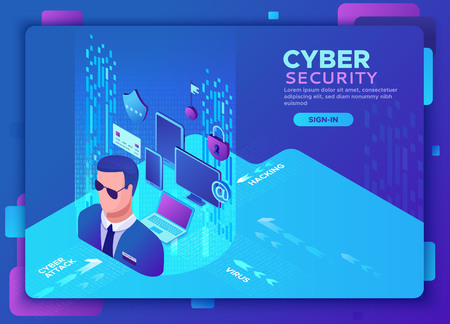 Cyber security 3d isometric vector illustration, data protection concept, firewall attack, phishing scam, information safety , laptop, computer, bank card