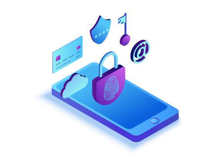 Concepto de seguridad móvil, protección de datos, delito cibernético, ilustración isométrica 3d, huella digital, estafa de phishing, seguridad de teléfonos inteligentes Ilustración de vector