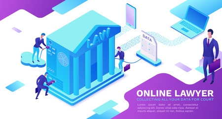 Usługa prawnika online izometryczna infografika 3d płaska ilustracja, adwokat zbierający dane, usługa sądowa w chmurze, koncepcja cyfrowej technologii, budynek sądu, komputer, laptop, ludzie, baner internetowy