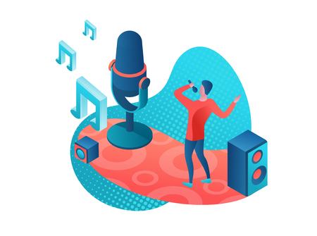 Singer 3d isometric colorful illustration, girl singing with microphone, radio person