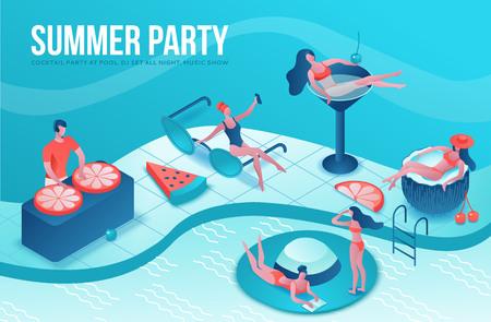 Illustrazione 3d isometrica festa in piscina con persone dei cartoni animati in costume da bagno, bere cocktail, relax, dj, musica, concetto di spa ricreativa, anguria, arancia, sfondo evento estivo, tempo libero