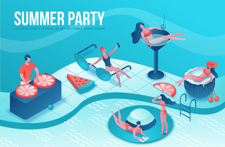 Pool party isometric 3d illustration with cartoon people in swimsuit, drinking cocktail, relax, dj, music, recreation spa concept, watermelon, orange, summer event background, leisure time Ilustração