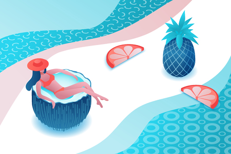 Girl relaxing in cartoon coconut, tropical spa background, summer party people, woman in swimsuit, holiday concept, 3d isometric vector illustration