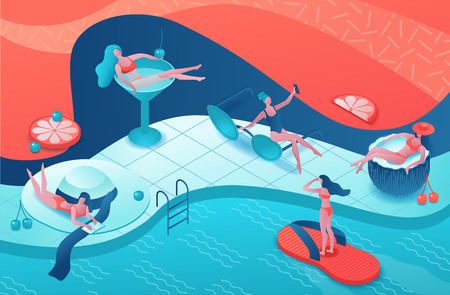 Pool party isometric 3d illustration with cartoon people in swimsuit, drinking cocktail, relax, recreation spa concept, watermelon, orange, event background, leisure time
