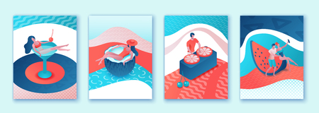 Summer poster set, pool party collection, isometric 3d illustration trendy pop style with cartoon people in swimsuit, drinking cocktail, relax, recreation spa concept, dj music, event background