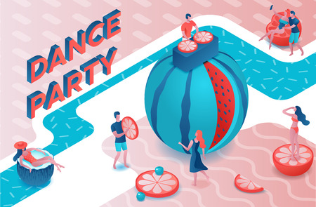Dance pool party isometric 3d illustration with cartoon people in swimsuit, drinking cocktail, relax, dj, music, recreation spa concept, watermelon, orange, summer event background, leisure time