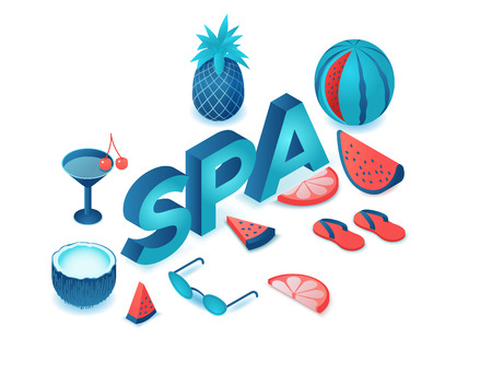 Spa party 3d isometric letters, summer event type, fruits, cocktail, watermelon, pineapple, modern lettering, beach elements, holiday poster, trendy font