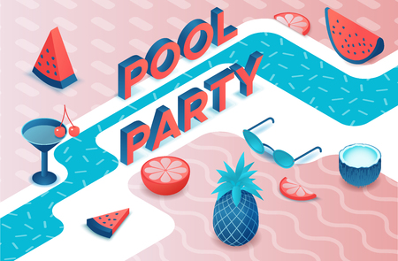 Pool party 3d isometric letters, summer event type, fruits, cocktail, watermelon, pineapple, modern lettering, beach elements, holiday poster, trendy font
