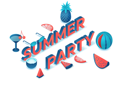 Summer party 3d isometric letters, event type, fruits, cocktail, watermelon, pineapple, modern lettering, beach elements, holiday poster, trendy font