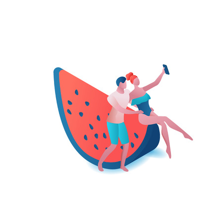 Couple taking selfie at watermelon, summer party people, romantic woman in swimsuit and man, holiday concept, 3d isometric vector illustration