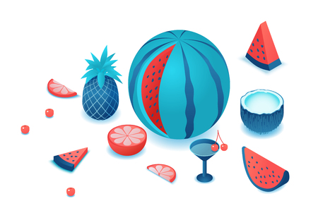 Fruits isometric set with isolated watermelon, pineapple, coconut, cherry, red, citrus slice, summer background elements, tropical food and drink concept, vector 3d illustration
