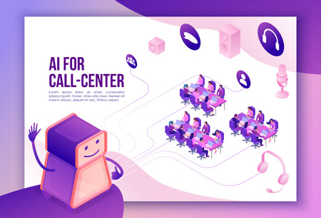 Artificial intelligence manages call center, isometric 3d vector illustration, customer service and mobile support landing page, operator with headphone, contact centre concept Illustration