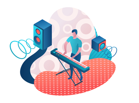 Man playing synthesizer, musician with piano, music show or concert concept, 3d isometric illustration Illustration