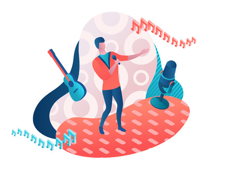 Singer 3d isometric vector colorful illustration, girl singing with microphone, radio person Çizim