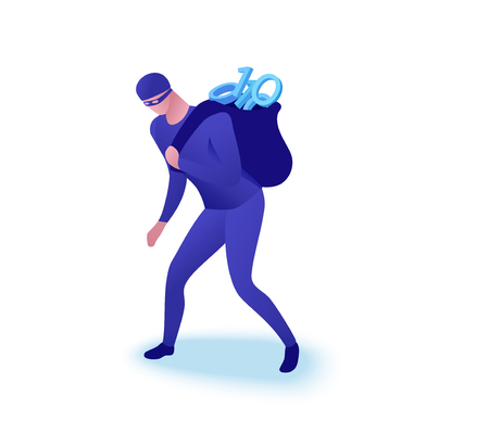 Data theft concept, man stealing information as zeroes and ones in sack, 3d isometric vector illustration, cyber crime, hacking, computer security Vetores