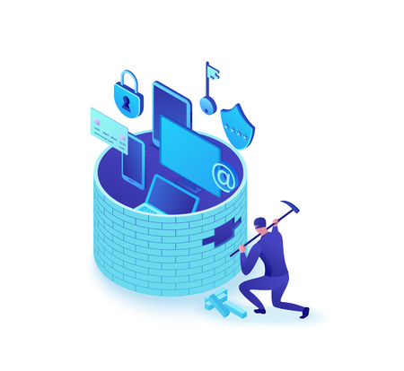 Attaque de pare-feu, pirate informatique brisant le mur pour voler des données, briques tombées, concept de protection de l'information, cybercriminalité, sécurité informatique