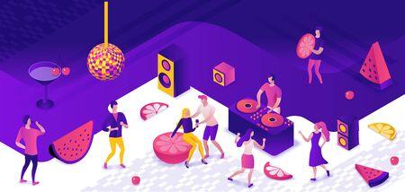 Concept isométrique de fête, dj jouant de la musique disco club, illustration vectorielle 3d, danseurs, discothèque, musique de danse, affiche d'événement de vacances, concert d'entreprise, violet, jaune, rose, hommes de bande dessinée en boîte