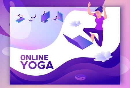 Yoga isometric concept or website template, 3d women doing physical exercises and watching online classes via smartphone or laptop, mobile app background, illustration of meditating in different pose Illustration