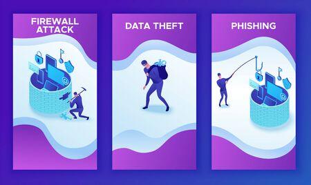 Mobile vertikale 3-Vorlage für Datenschutz, isometrische 3D-Vektorillustration der Cybersicherheit, Firewall-Angriff, Phishing-Betrug, Informationssicherheit, Laptop, Computer, Bankkarte
