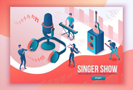 Isometric music radio show 3d illustration, modern concert poster, audio blog concept, vector landing page with people singing, microphone, guitar, podcast recording sound studio, living coral color 矢量图像