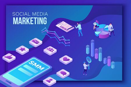 Social media marketing concept, 3d isometric infographic promotion campaign, online digital technology, business people analyze advertising report, content plan, seo optimisation vector illustration