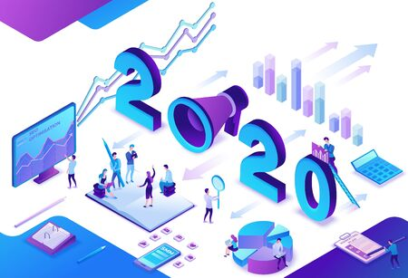 2020 year marketing plan, social media isometric 3d infographic strategy, promotion campaign concept, people in teamwork analyze website content report, advertising banner vector illustration