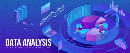 Data analysis center, business people analyze diagram, kpi analytics, digital technology in finance, artificial intelligence concept, big research isometric illustration, teamwork 3d background