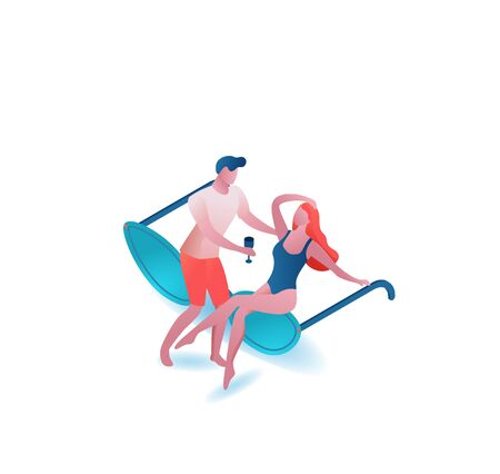 Couple drinking cocktail, summer party people, sunglasses, romantic woman in swimsuit and man, holiday concept, 3d isometric vector illustration