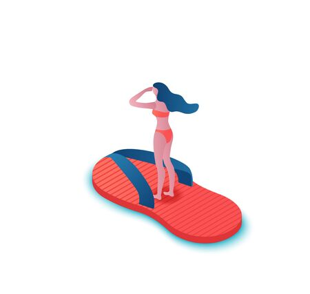 Girl floating in slipper, tropical spa background, summer party people, cartoon shoes, woman in swimsuit, holiday concept, 3d isometric vector illustration