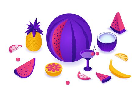 Fruits isometric set with watermelon, pineapple, coconut, cherry, red, citrus slice, summer background elements, tropical food and drink concept, vector 3d illustration Illustration